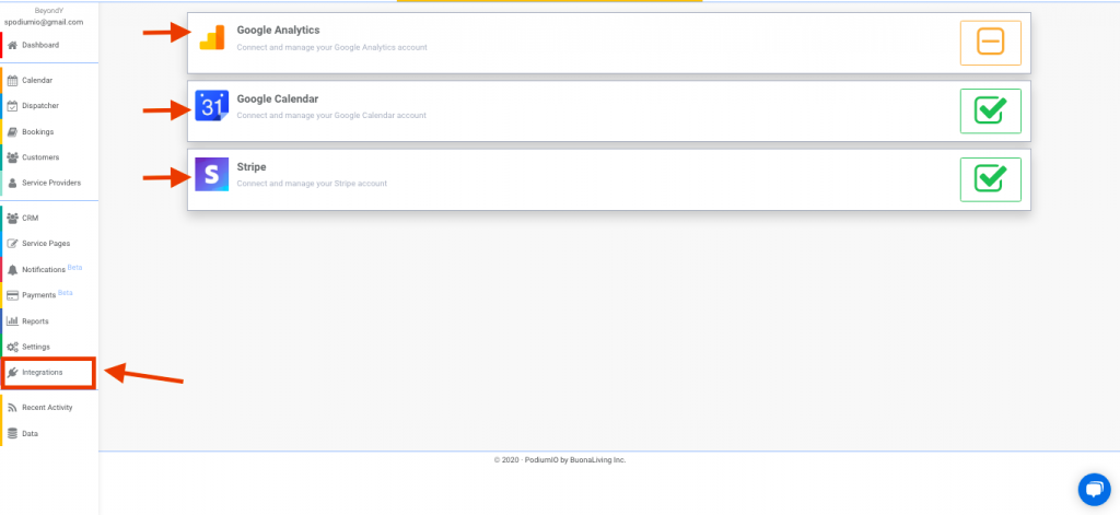 Integrate Google analytics, calendar and stripe under main left menu > integrations