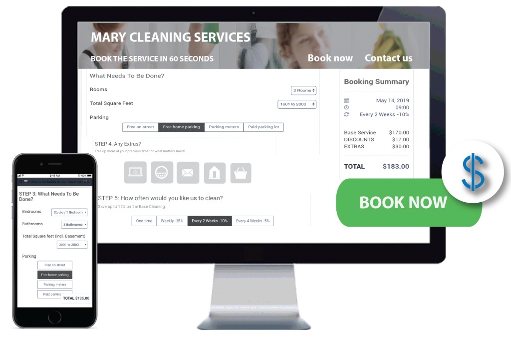 Live Pricing & Booking pages to sell home services online and increase sales
