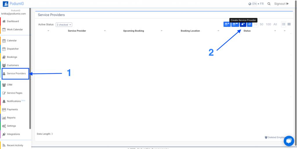 Create a service provider in PodiumIO backend