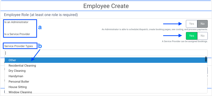 Select the type & role of service provider
