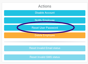 Administrator screen to reset service provider password