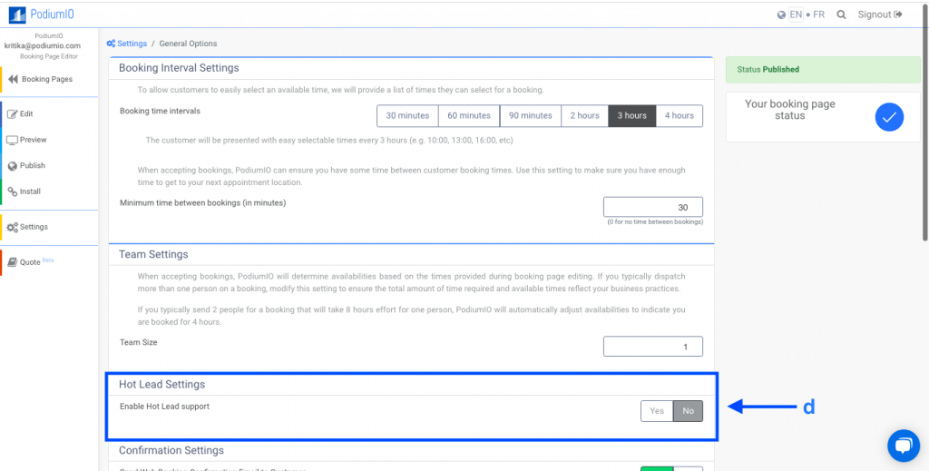 Enable Hot Leads settings in your booking pages
