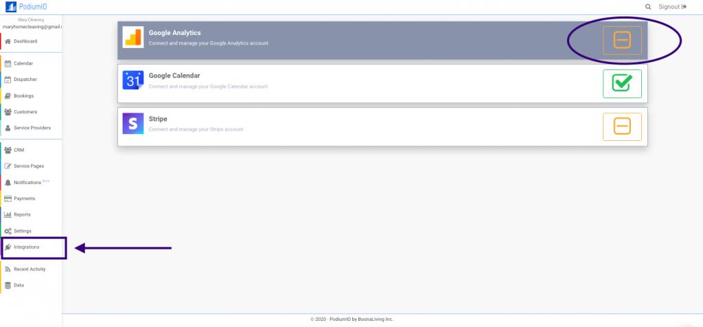Integrate Google Analytics in PodiumIO account