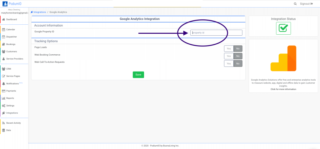 Google analytics settings under PodiumIO account of Home service businesses