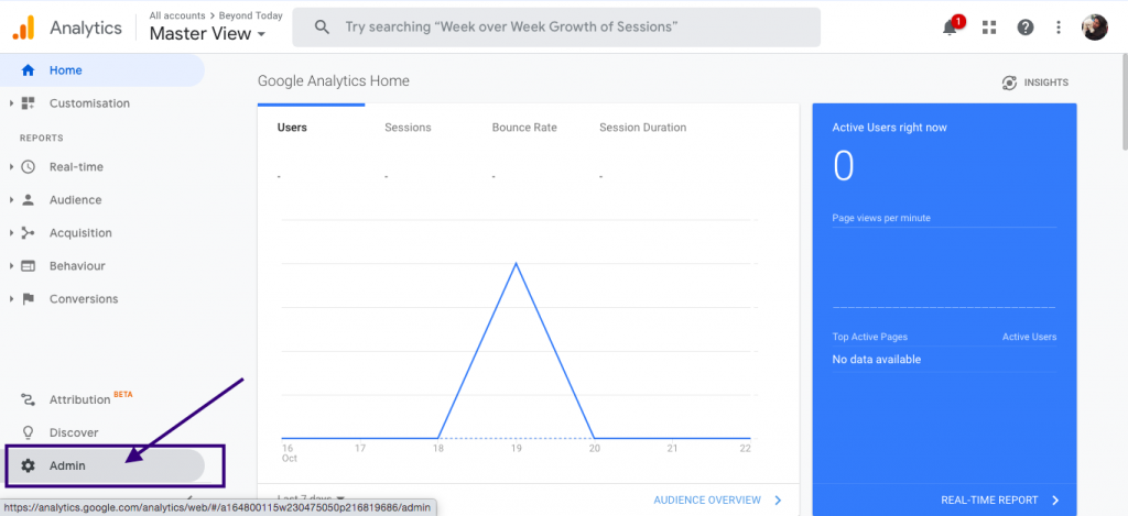 Admin section under Google analytics account of Home service businesses
