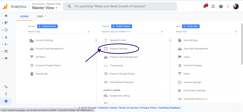 Property settings under Google analytics account of Home service businesses