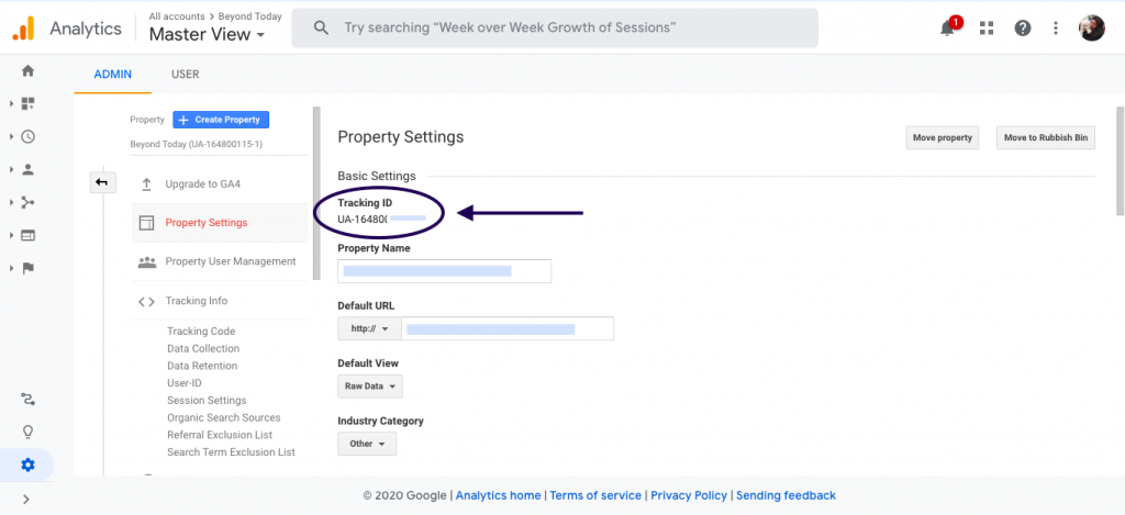 Tracking ID under Google analytics account of Home service business