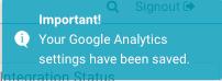 Google analytics settings saved in PodiumIO account
