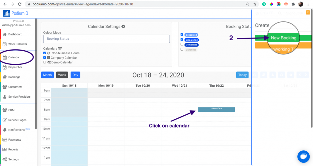 """Create """"Internal,"""" """"Call-In,"""" or """"On-Premise"""" Bookings from selecting time on calendar"""