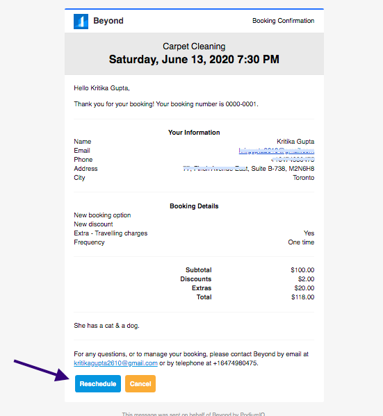 Booking confirmation email for your customer with an option to cancel or reschedule the booking