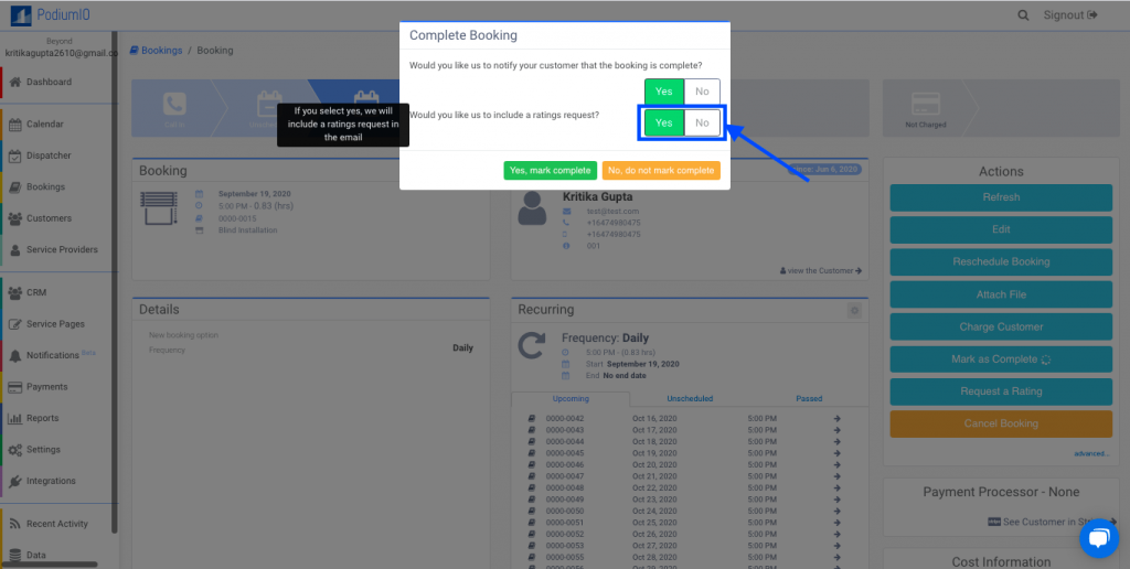 Enable or disable the option to ask customer a rating when marking a booking as complete
