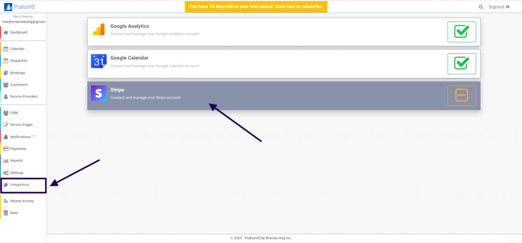 Stripe online payment integration in PodiumIO