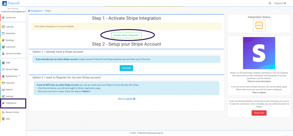 Enable Stripe online payment integration in PodiumIO