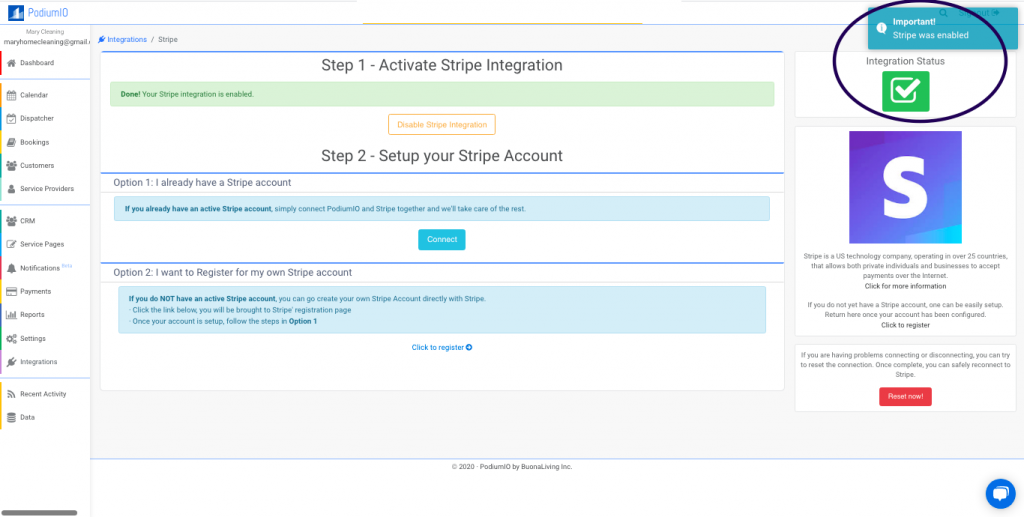 Successfully enabled Stripe payment integration in PodiumIO