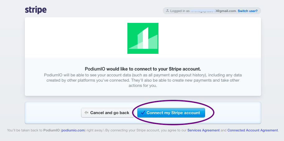 Connect your Stripe account with PodiumIO