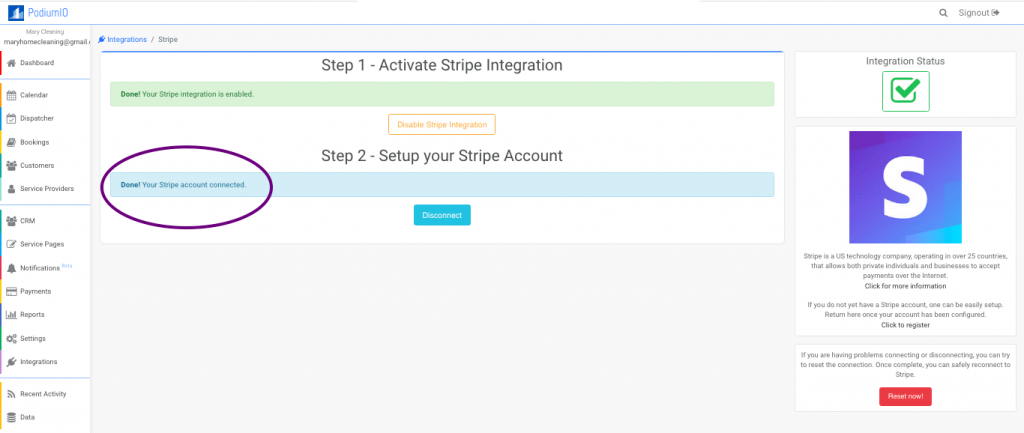 Successfully Connected your Stripe account with PodiumIO
